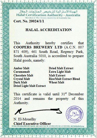 coopers halal cert
