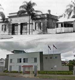Fortitude Valley fire station in 1905 and its eyesore replacement.
